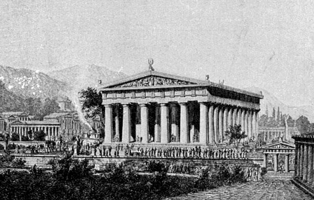 This is a black and white photo of Wilhelm Lübke's illustration of the Temple of Zeus at Olympia. It depicts a temple surrounded by a portico with columns.