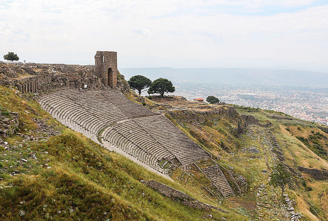 This is a photo of the ruins of the theater of Pergamon.