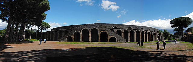 This is a current-day photo of the exterior of the Amphitheater of Pompeii, built around 70 BCE.
