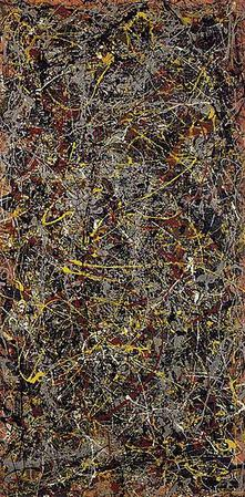 This photo shows the painting No. 5. Jackson Pollock is known for his techniques in action painting, a style of abstract expressionism in which paint is spontaneously dribbled, splashed or smeared onto the canvas, rather than being carefully applied, as seen in this painting done in 1948.
