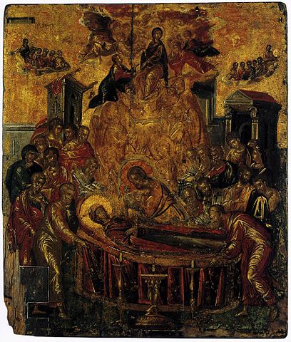 This photo shows El Greco's painting, The Dormition of the Virgin.