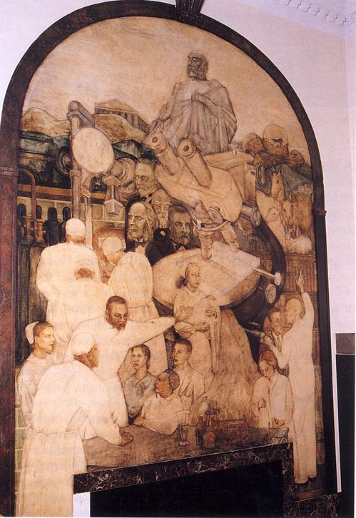 A panel of the mural that includes a variety of scientific instruments and portraits of the fathers of Western medicine.