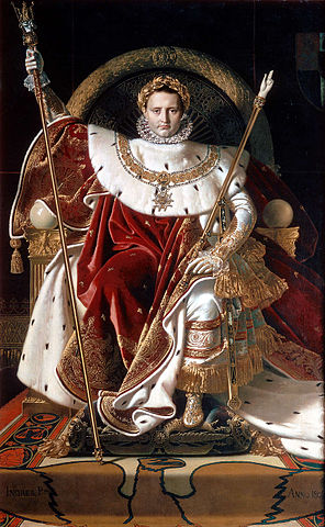 The painting shows Napoleon as emperor, in the costume he wore for his coronation, seated on his throne. In his right hand he holds the sceptre of Charlemagne and in his left the hand of justice. On his head is a golden laurel wreath.