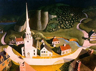 The painting shows Paul Revere riding his horse through a colonial town square from a bird's eye view. The moonlight is dramatic.