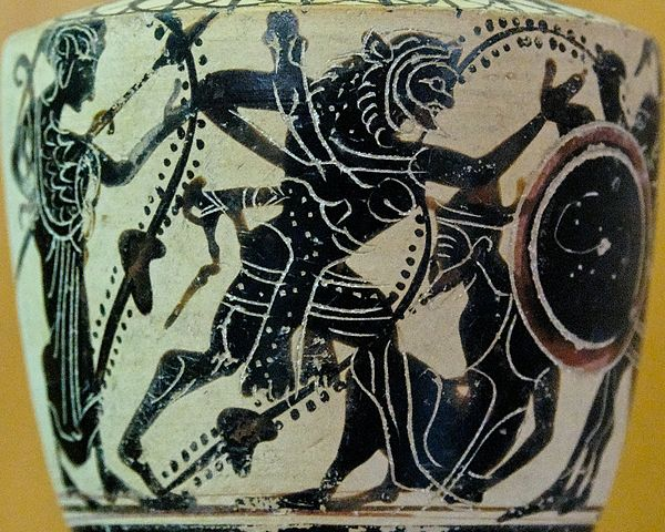 This is a closeup photo of an Attic white-ground black-figure lekythos decorated with the painting described in the caption.