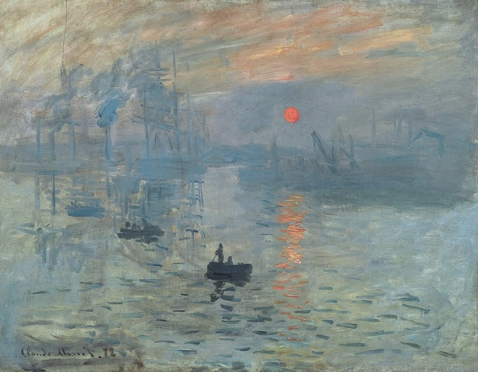 Painting depicts a harbor at sunrise. Barely distinguishable people on boats are near the foreground and an orange, round run is in the background.