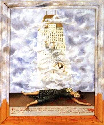 It depicts Hale standing on the balcony, falling to her death while also lying on the bloody pavement below.