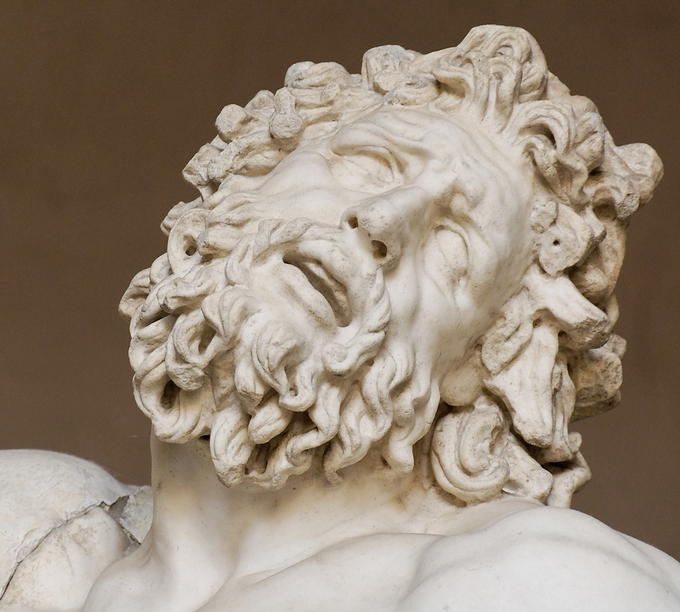 This is a closeup photo of Laocoön and His Sons that focuses on Laocoön's face. It shows the carving and detail, the attention to the musculature of the body, and the deep drilling that are all characteristic elements of the Hellenistic style.