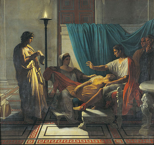 Virgil is standing, reading. A woman has fainted into the lap of Augustus, and another woman tries to help.