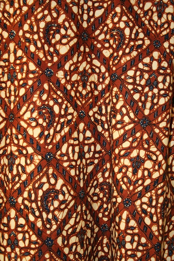 This photo shows a Javanese court batik with an intricate design.