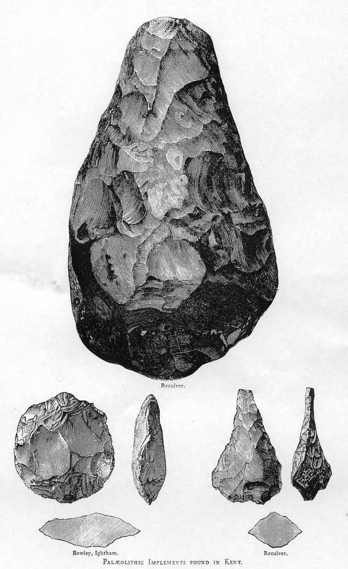 Sketch from the Victorian Era. It depicts three types of Acheulean hand axes.