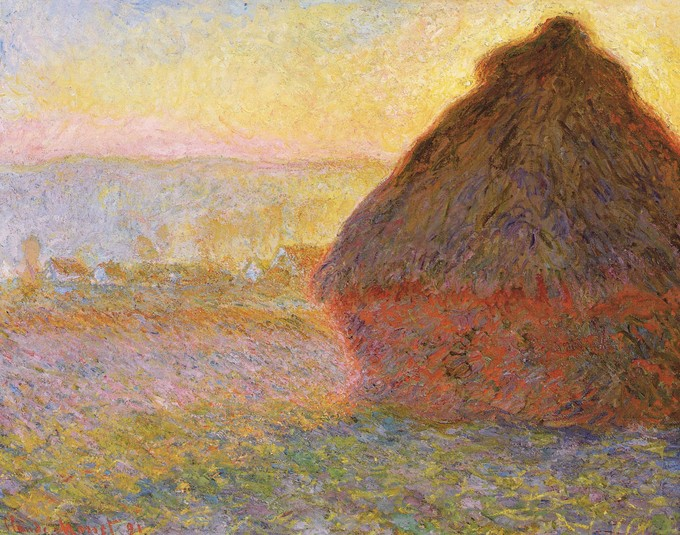 Painting depicts a large haystack at sunset.