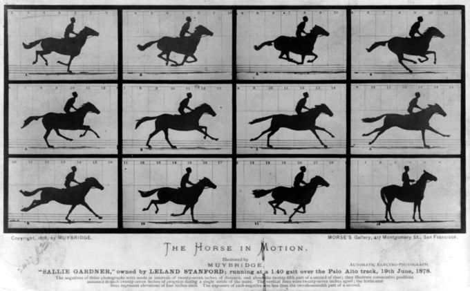 This print is made up of 12 different images showing a man on a horse in 12 different moments of movement.