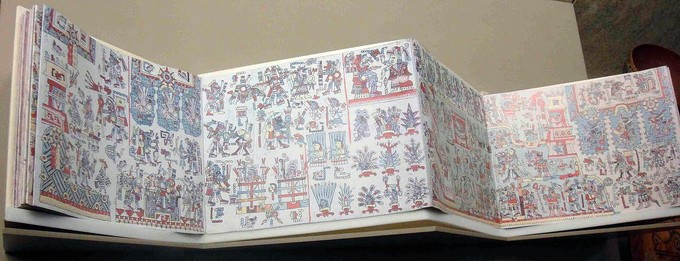 This codex is colorful and unfolded.