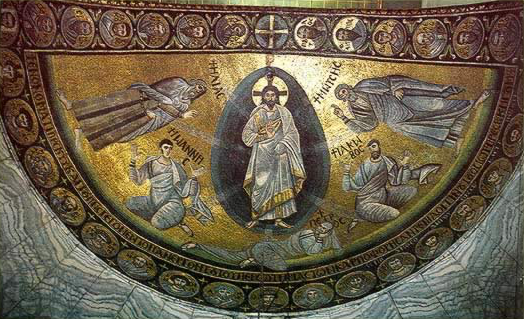 This photo shows the mosaic of the transfiguration of Jesus.