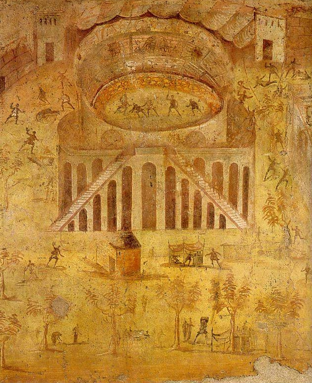 This photo of a fresco in Pompeii shows the aforementioned riot at the amphitheater.