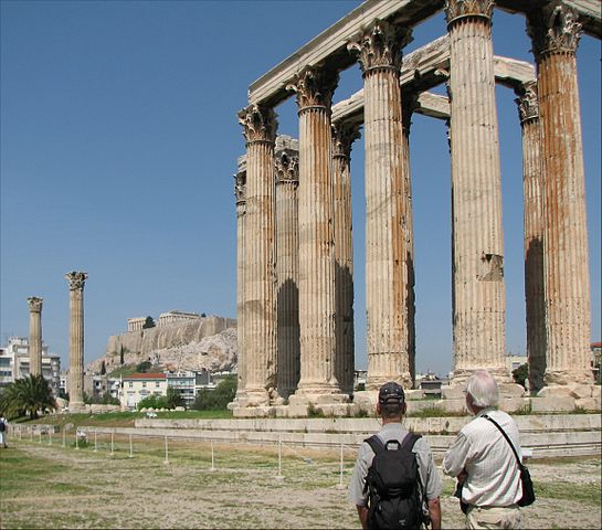 This is a photo of the Temple of Olympian Zeus. Note the corinthian colonnades and Pentelic marble on the ruins of the temple.