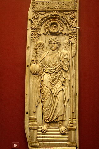This photo shows the Archangel Ivory. It depicts an archangel holding a sceptre and imperial orb.
