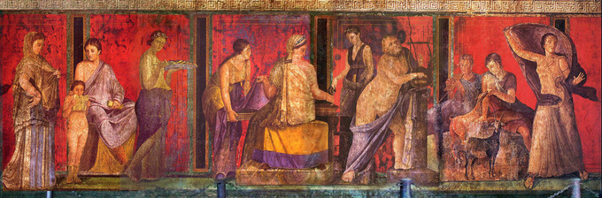 This photo shows the wall painting previously described. It is a ritual scene in the Villa of the Mysteries.