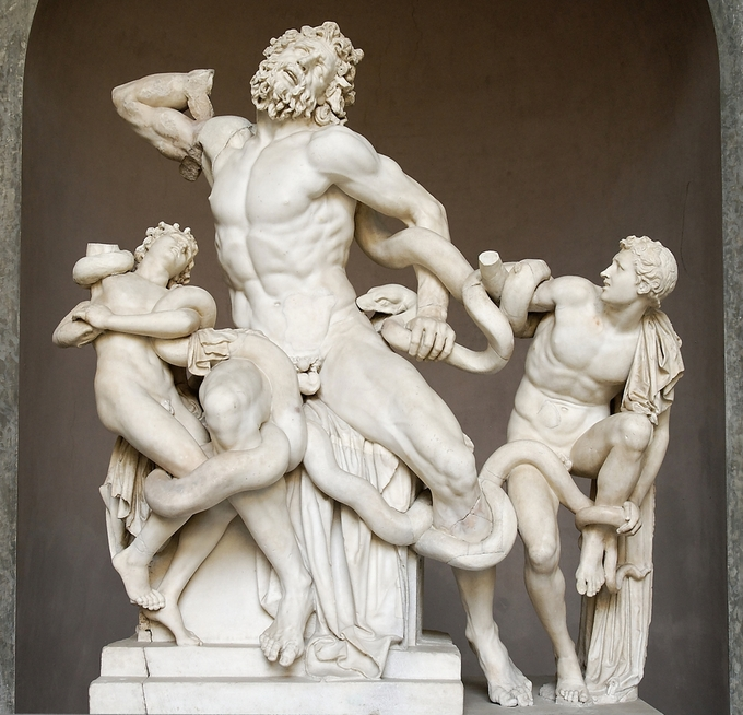 This is a photo of the statue Laocoön and His Sons. This marble statue is attributed by the Roman historian Pliny the Elder to the sculptors Agesander, Athenodoros, and Polydorus from the island of Rhodes.