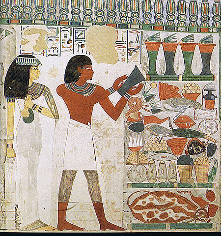 Painting depicts Nakht and his wife Tawy making an offering. Tawy wears a white dress. Nakht wears a short white skirt and adds a vase to a large display of food, dishes, and other treasure.