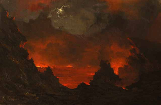Painting shows a full moon peeking out from the clouds above a red, erupting volcano.