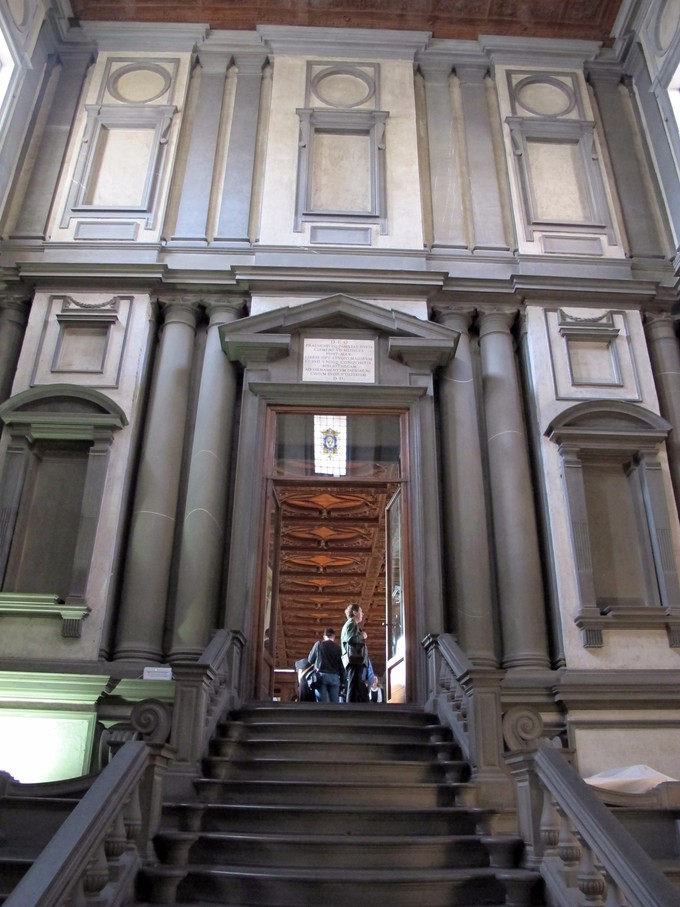 A view from outside the Vestibule of the Laurentian Library.