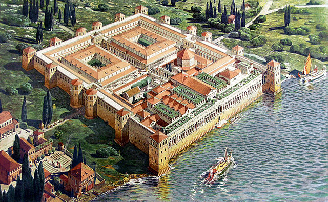 This is a painting of Diocletian's Palace. It is an artist's reconstruction of the original structure. It depicts the palace, an irregular rectangle, with towers projecting from the western, northern, and eastern facades.