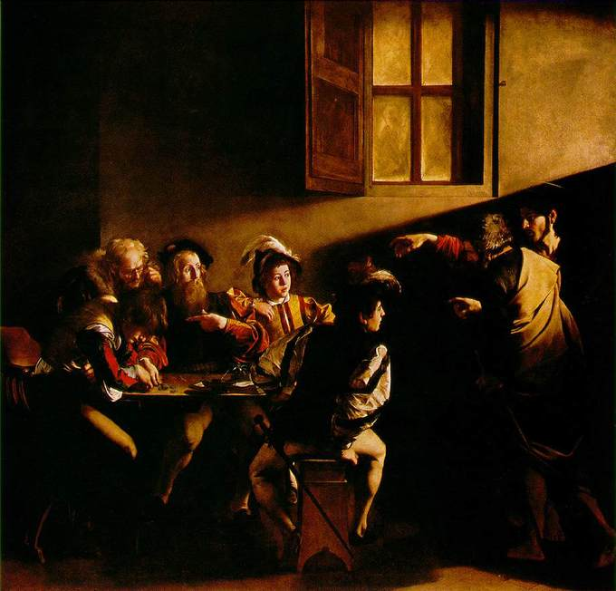 Caravaggio depicts Matthew the tax collector sitting at a table with four other men. Jesus Christ and Saint Peter have entered the room, and Jesus is pointing at Matthew. A beam of light illuminates the faces of the men at the table who are looking at Jesus Christ.