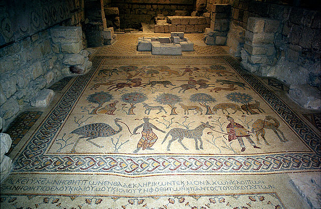This photo shows the floor mosaic in Mount Nebo.