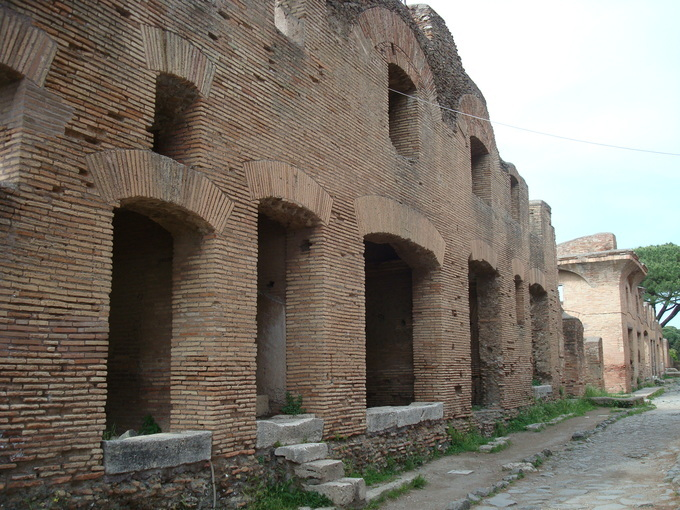 This is a current-day photo of the ruins of insulae (apartment blocks).