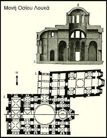 This is the ground plan of Hosios Loukas. The top shows the plan of the Church of the Theotokos, and the bottom the plan of Katholikon.