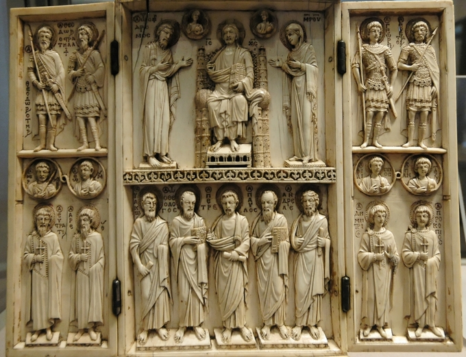 This photo shows the Harbaville Triptych's supplication scene as previously described.