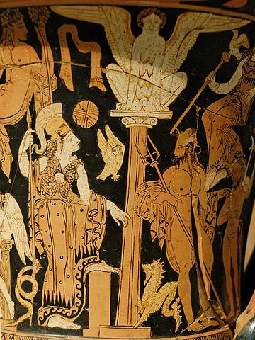 This is a closeup photo of a pseudo-red-figure painting on a krater. Athena and Poseidon are shown on either side of an Ionic column topped by a female sphinx.