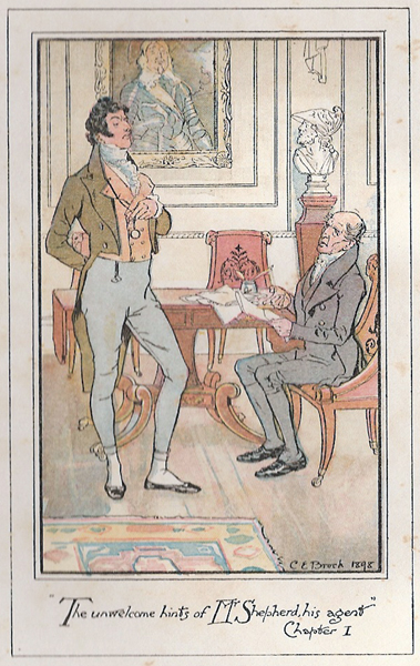 "An illustration from Jane Austen's novel ""Persuasion."" novel by Jane Austen. It shows Sir Walter Elliot talking to Mr. Shepherd."
