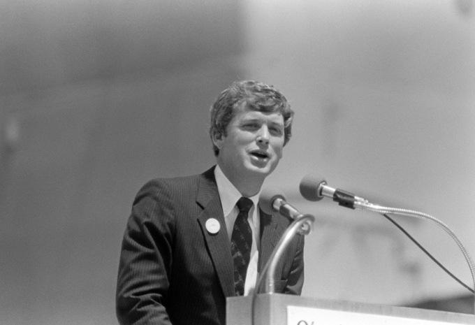 Senator Dan Quayle gives a speech in 1984.