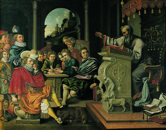 A painting of a lecture at a knight academy. The speaker is standing at the lectern and the audience is seated nearby.