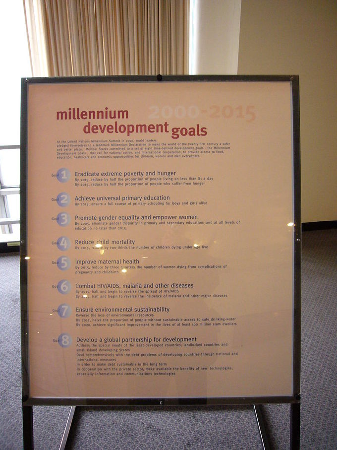 A poster at the United Nations Headquarters in New York City, New York, showing Millennium Development Goals.