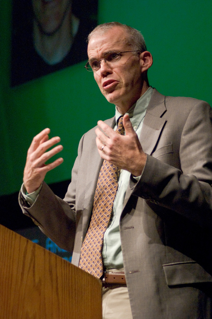 Bill McKibben speaks at the Rochester Institute of Technology.