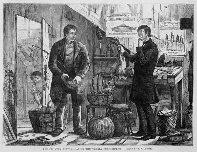 A newspaper illustration in Harper's Weekly where two men engaging in a barter. One man offers chickens in exchange for his yearly newspaper subscription.