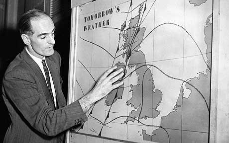 George Cowling presented the first in-vision forecast on January 11, 1954 for the BBC.