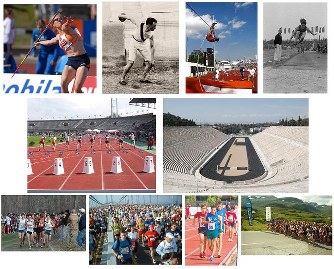 A series of photos that show athletes competing in track and fields events.