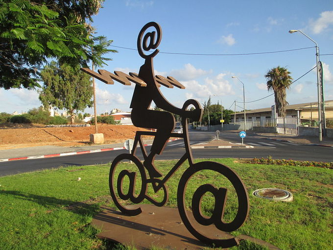 """The Internet Messenger"" statue by Buky Schwartz, located in Holon, Israel."