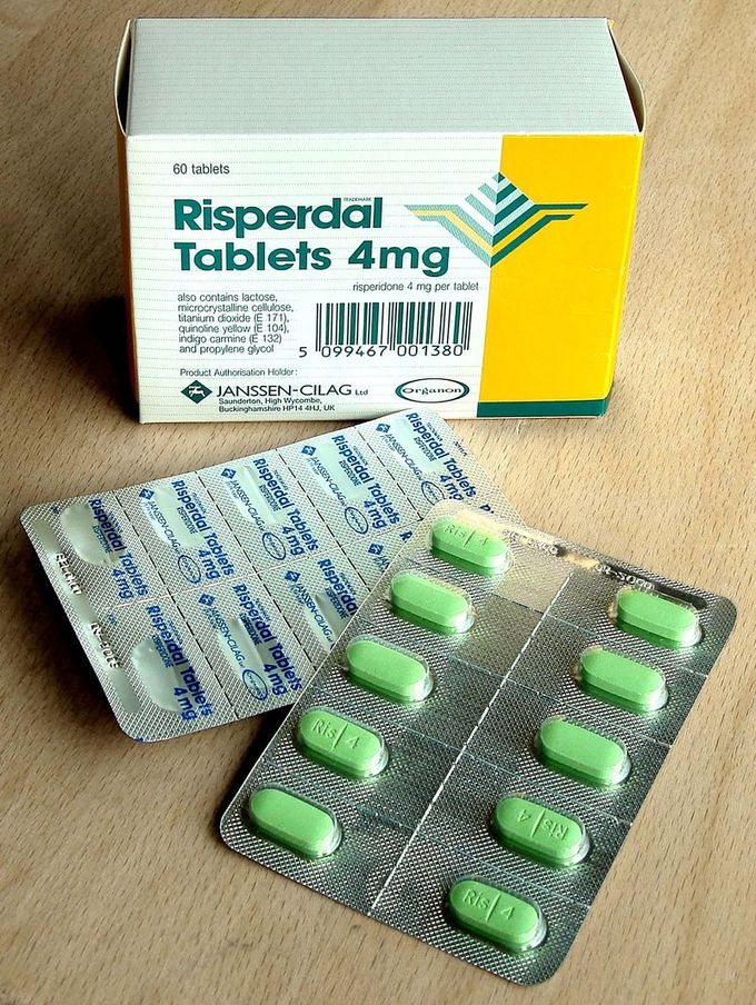 A box of Risperdal pills that are packaged as convenient individual doses.