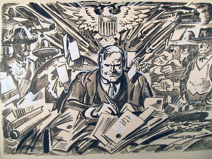 Hoover is seated at a desk surrounded by a flurry of images, including papers, pens, political figures, ships, planes, and trains.