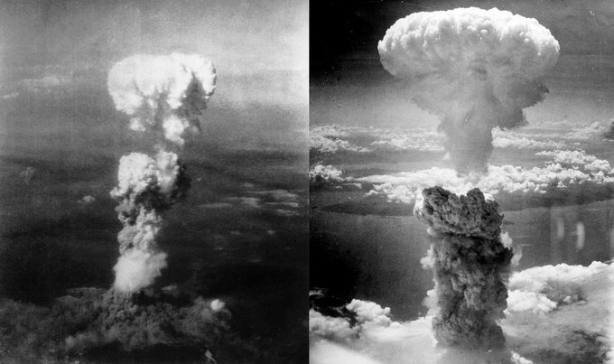 Two side-by-side photographs of the gigantic mushroom clouds that billowed over Hiroshima and Nagasaki after the U.S. military dropped the atomic bombs.