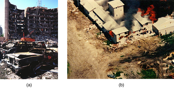 Photograph (a) shows the bombed federal building in Oklahoma City. Photograph (b) shows the siege of the Waco compound; flames shoot form the top of the Mount Carmel center.