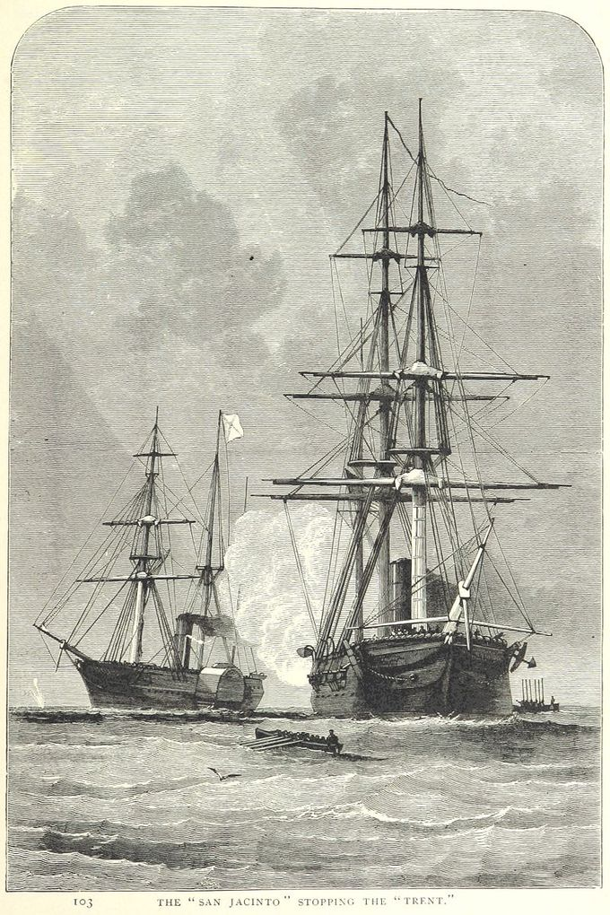 The image shows the two ships involved in the Trent Affair, the Trent and the San Jacinto.