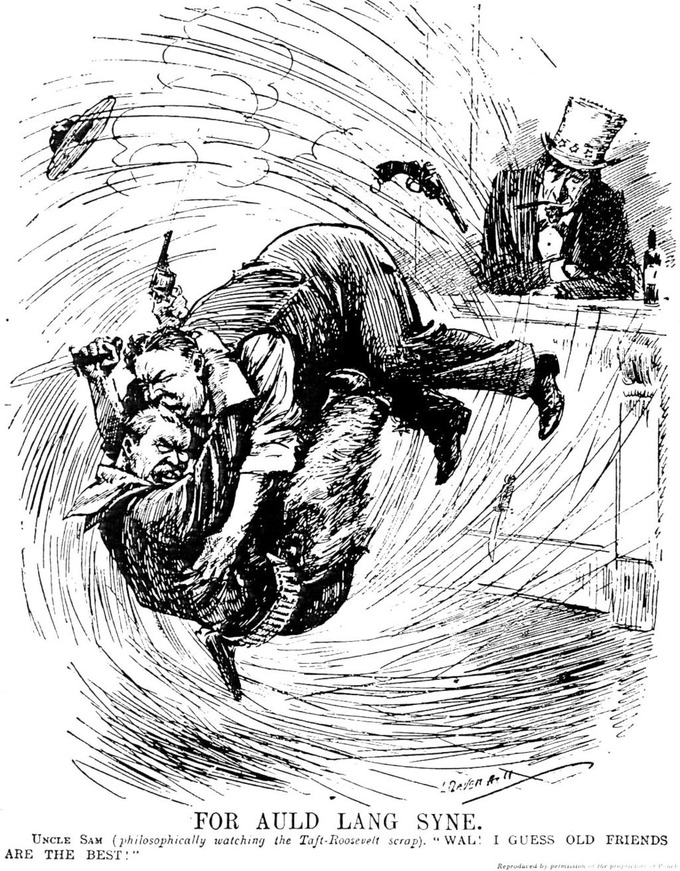 """The President and the ex-President, the latter dressed as a cowboy, are having a fierce mix-up in a saloon. Both are at close grips. Mr. Taft is trying to stick his former friend with a bowie knife, and Mr. Roosevelt is letting fly with a six-shooter. Uncle Sam, philosophically watching the scrap, says 'Well, I guess old friends are best.'"" — Description in New York Times May 8, 1912. p. 3"