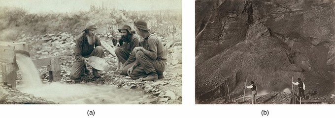 Image (a) is a photograph of three prospectors kneeling beside a stream and panning for gold. Image (b) is a photograph of two laborers engaged in hydraulic mining, with a massive expanse of rock spread out before them.